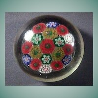 Concentric Millefiori Glass Paperweight with concave ground pontil (20th C, with precise year unclear)