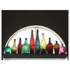 Nine Colorful Hand Blown Glass Bottles for Display or Decoration (dating range is c1765 up to 1890+)
