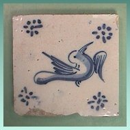 Mid 1600s or older European Delft Tin Glazed Blue and White Bird Tile with Ming Influences (thick early tile)
