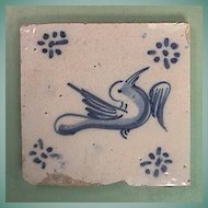 Mid 1600s European Delft Tin Glazed Blue and White Bird Tile with Ming Influences (thick early tile)