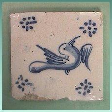 Mid 1600s European Delft Tin Glazed Blue and White Bird Tile with Ming Influences (one left)