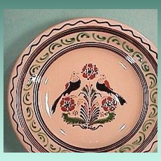 European 20th Century Large Redware Bowl with Slip Decoration and Sgraffito Incising