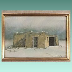 American Southwest Adobe House in Winter Snow Squall (c1996 Print)