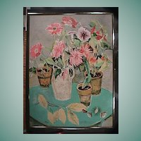 Still Life Potted Flowers in Matisse-style (original signed print numbered as 132/260)