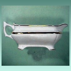 c1885 Early American White Ironstone Gravy Pitcher with Luster Band by Vodrey and Brother