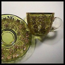 Late 1800s Brilliant Citron yellow hand blown and encrusted Glass Teacup and Saucer