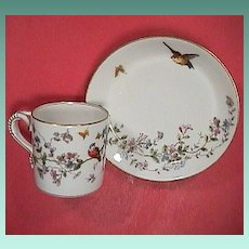 c1885 Haviland GDM Porcelain Cup and Saucer with Hand Colored Birds, Butterflies, Flowers and burnished Gold