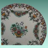 c1740 Rouen Faience Tin Glazed polychrome Plate with garlands and lambrequin border (scarce with authenticity guaranteed)