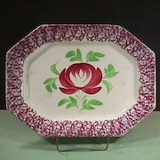 c1840 Red and Light Blue Sponged Spatterware 15+ inch Platter with large Adams Rose