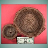 Two vintage mid-1900s (or older) hand coiled pine needle baskets from the South or SE United States