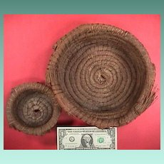 Two vintage mid 1900s (or older) hand coiled pine needle baskets from the South or SE United States