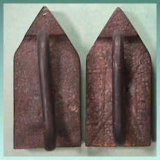 Antique Sand Cast pair of smoothing Flat Sad Irons with wrought iron handles from 17th or 18th Century - scarce