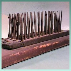 Early 1800s (or older) American Flax Hackle or Comb with hand wrought spikes for producing filaments for making linen