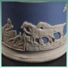 c1830 Transitional Creamware blue ground Child's Mug with white sprigged Hunting Scene