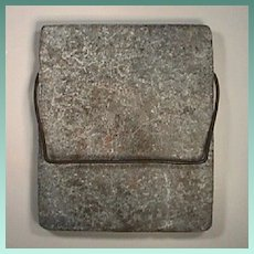American Soapstone Warming Slab with iron handle from the 1800s