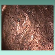 Mid-1700s Copper Cover for Large Kettle with hammered decoration, Touch Marks and iron core rim (very scarce)