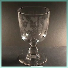 c1830 Hand Blown and Wheel Engraved Glass Goblet or Rummer on Baluster Stem (two available)