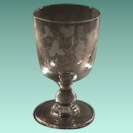 c1830 Hand Blown and Wheel Engraved Glass Goblet or Rummer on Baluster Stem
