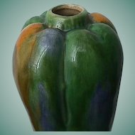 Gourd-shaped Pottery Tea Canister or Vase with Clouded and Streaked Glazes