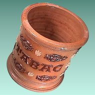 Mid-1800s Salt Glaze Stoneware Tobacco Jar labeled TABAC with applied Sprigging and Coggling