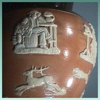 c1912 Beautiful Salt-glazed Stoneware Doulton Jug with Hunting Hounds, Buck, Smoker, Thinker and Horseman