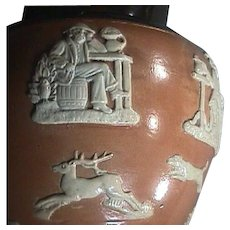 c1912 Beautiful Doulton Salt-glazed Stoneware Hunting Jug with Hounds, Buck, Smoker, Thinker and Horseman