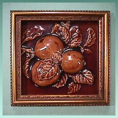 c1890 High Relief Fruit Tile by United States Encaustic Tile Works, Indianapolis (6 x 6 inch tile in Frame)