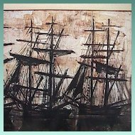 Silhouettes of Tall Ships in Harbor at sunset by Bernard Buffet (1968 exhibition reduced copy)
