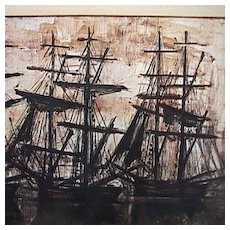 Silhouette Scene of Tall Ships in Harbor at Sunset by Bernard Buffet (1968 exhibition reduced copy)