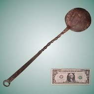 Early 1800s (or older) Hand Wrought Iron Ladle with Decorative Twists and Curled Hanging Tang