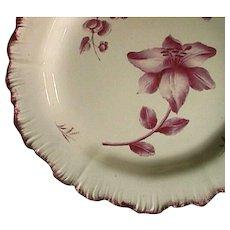 c1774 Wedgwood Creamware Crimson Red Shell-edge Plate with Botanical-Motif (early impressed mark)