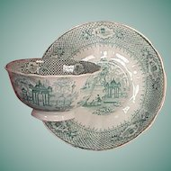 c1845 Staffordshire Green Printed Cup and Saucer in VERANDA pattern by Ralph Hall and Co.