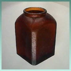 c1885 Small Brown Snuff Bottle with Beveled Corners (hand blown in mold, 2 3/4 inches tall)