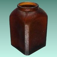 c1885 Small Brown Hand Blown (in mold) Snuff Bottle with Beveled Corners (2 3/4 inches tall)