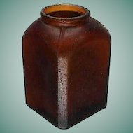 c1885 Small Hand Blown (in mold) Brown Glass Snuff Bottle with Beveled Corners (2 3/4 inches tall)