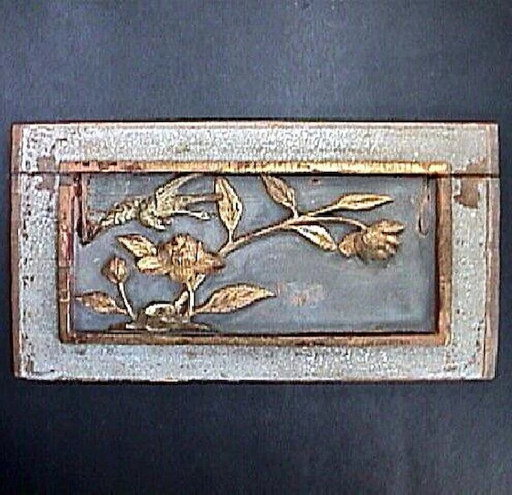 Mica Encrusted Chinese Carved Wood Panel With Bird And Flowers C1850 Or Older