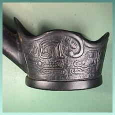 Late 1800s Chinese Cast Iron Silk Smoothing Iron with decorative archaic Chinese Symbols