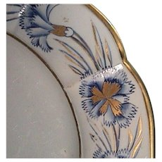 c1815-20 Painted Mason's Patent Ironstone China Plate with Gilded Carnations and Paneled Rim