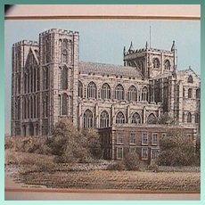 Hand colored Print in Matted Frame of Ripon Cathedral, Yorkshire, by John Bangay (late 20th C)