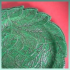 c1815 Emerald Green Glazed Creamware Leaf Plate impressed Brameld (Swinton)