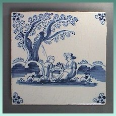c1740 Painted Delft Tin Glazed Tile of Shepherd on bended knee and Lady Friend (likely English)