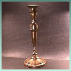 c1790 vertically seamed sand cast Brass Candlestick with Urn candle cup (11+ inches tall)