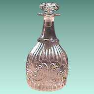 c1825 Sandwich Glassworks Flint Glass Decanter with Gothic Ribs and Shells (3-piece mold with pontil)