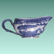 c1785 Chinese Export Porcelain Sauce Boat painted in Pearl River House (Trench Mortar) Pattern for European Market