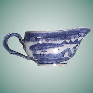 c1785 Chinese Export Porcelain Sauce Boat painted in Pearl River House (Trench Mortar) Pattern for American/European Market
