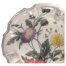 c1835 Italian hand painted Fayence Tin Glaze Faience Plate with molded Baroque style rim