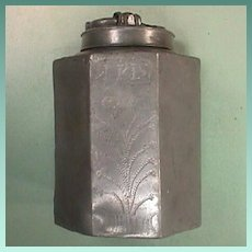 Ecclesiastical Pewter Canister with Wrigglework, IHS and Tree of Life (dated 1815)