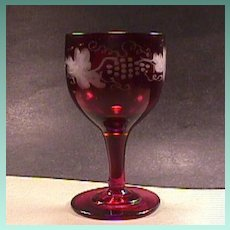 c1845 Hand Blown Ruby Red Wheel Engraved Fruiting Vine Full Size Wine Glass with snapped Pontil