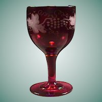 c1845 Hand Blown Ruby Red Full Size Wine Glass with Wheel Engraved Fruiting Vine motif and rough Pontil