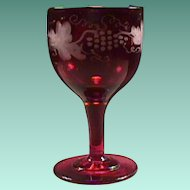 c1845 Hand Blown Ruby Red Full Size Wine Glass with Wheel Engraved Fruiting Vine motif and snapped Pontil